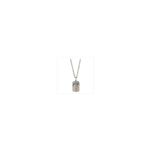 cross dog tag necklace. CHARM CROSS DOG-TAG NECKLACE